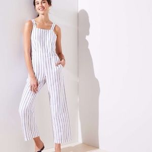 LOFT striped full length jumpsuit